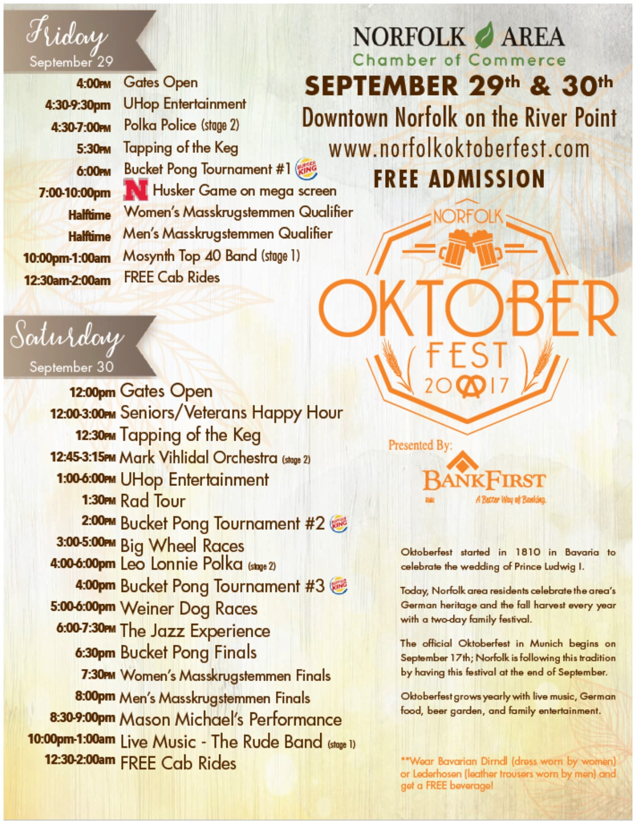 2017 Oktoberfest in Norfolk, Nebraska! 
